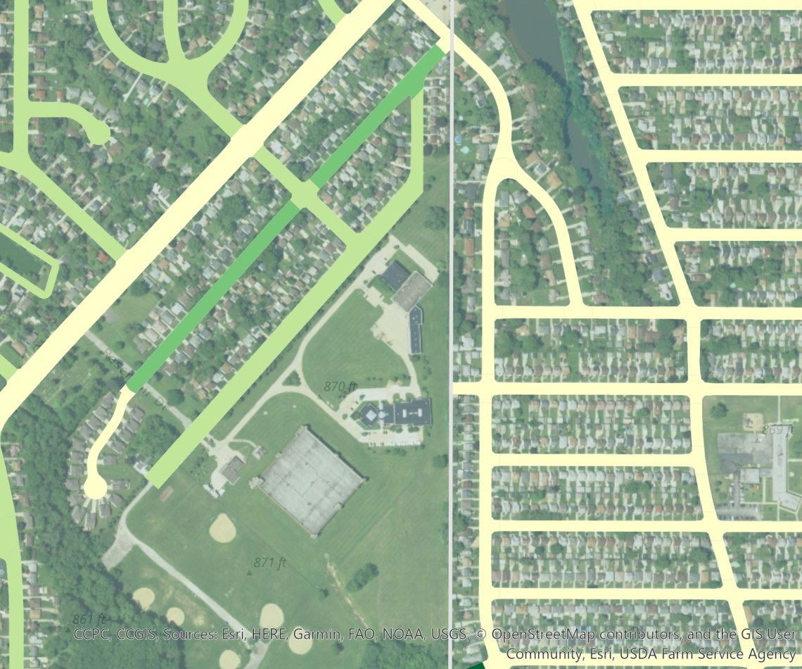 sample map of existing tree canopy by rights-of-way