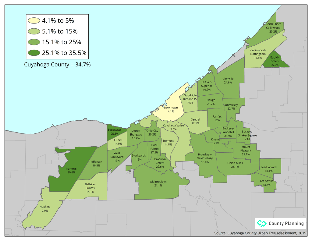 Map of existing tree canopy by Cleveland neighborhood