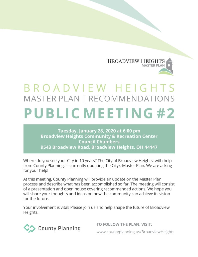 Flyer for Broadview Heights Master Plan Public Meeting #2