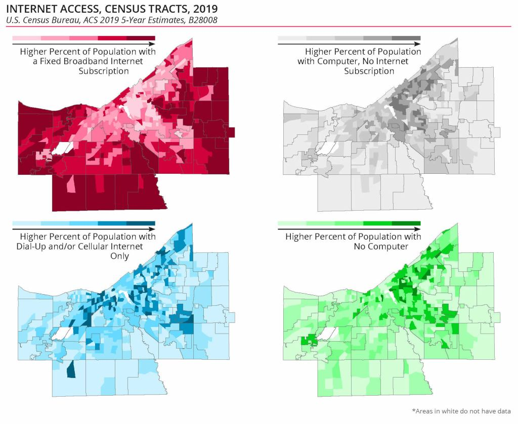 set of four maps showing broadband access and computer ownership in Cuyahoga County by census tract