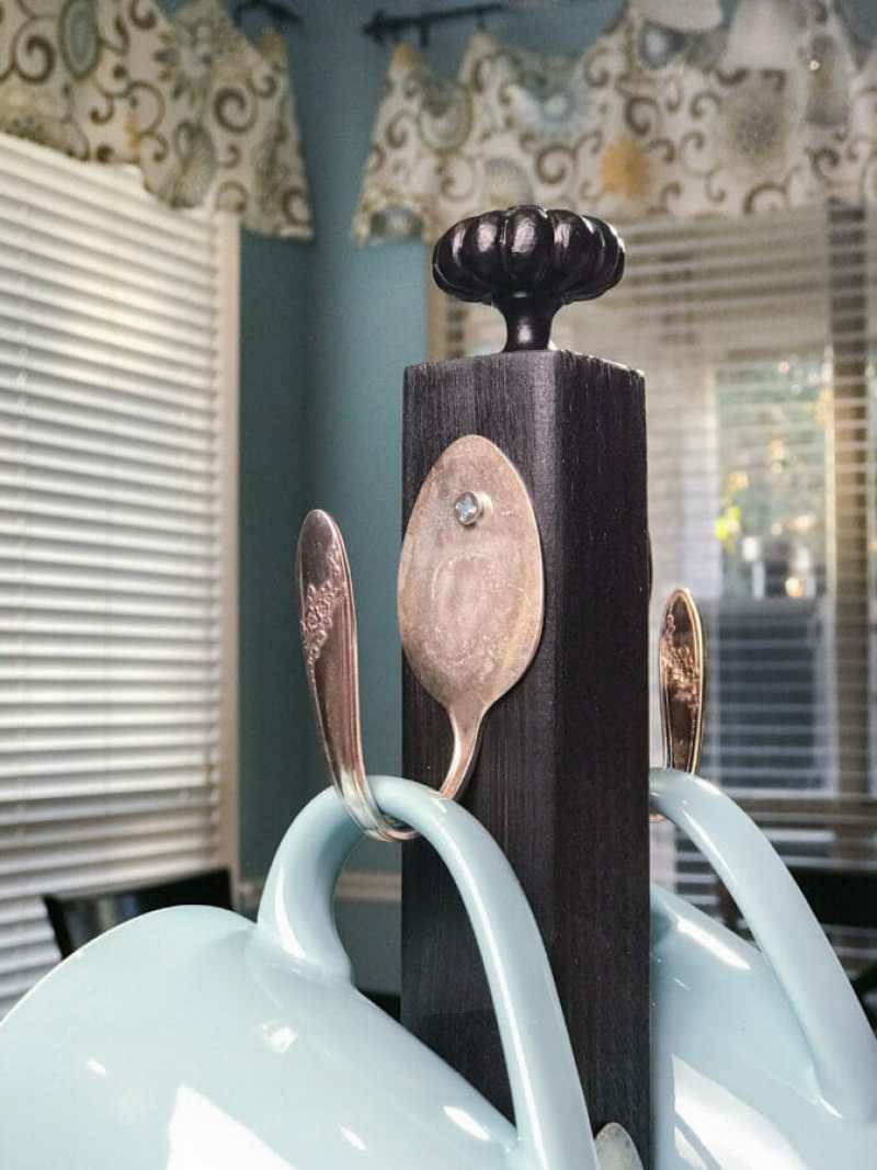 Close Up of Coffee Cup holder and vintage spoon hook