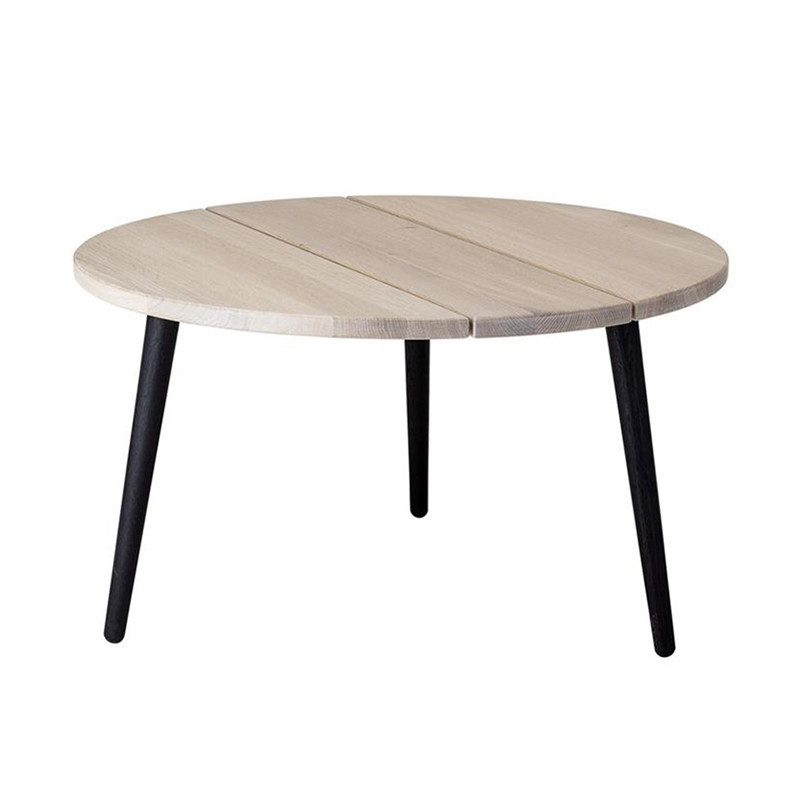 table basse ronde en chene et pieds metal noir whit reference cd tb56b