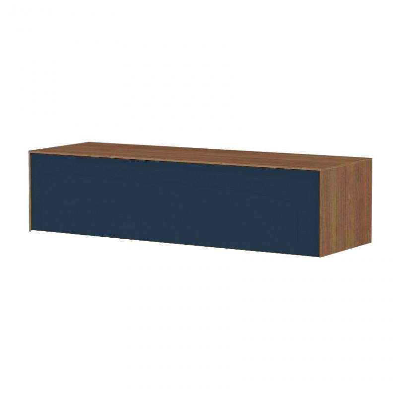 meuble tv suspendu bleu fonce et bois noyer stone blue reference cd tv12c 02