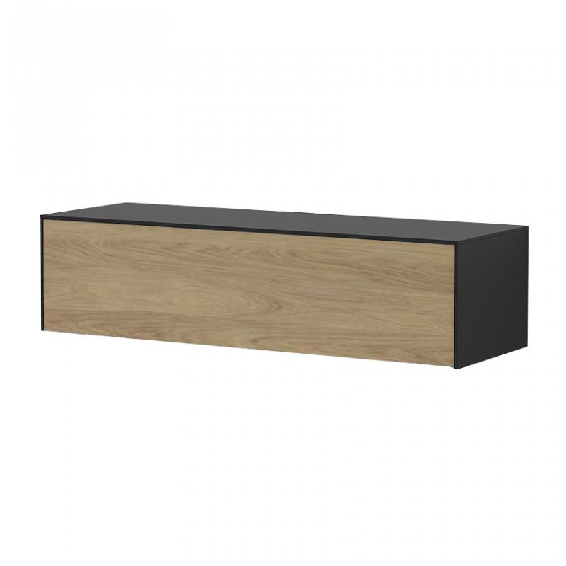 meuble tv suspendu bois et noir sur cdc design
