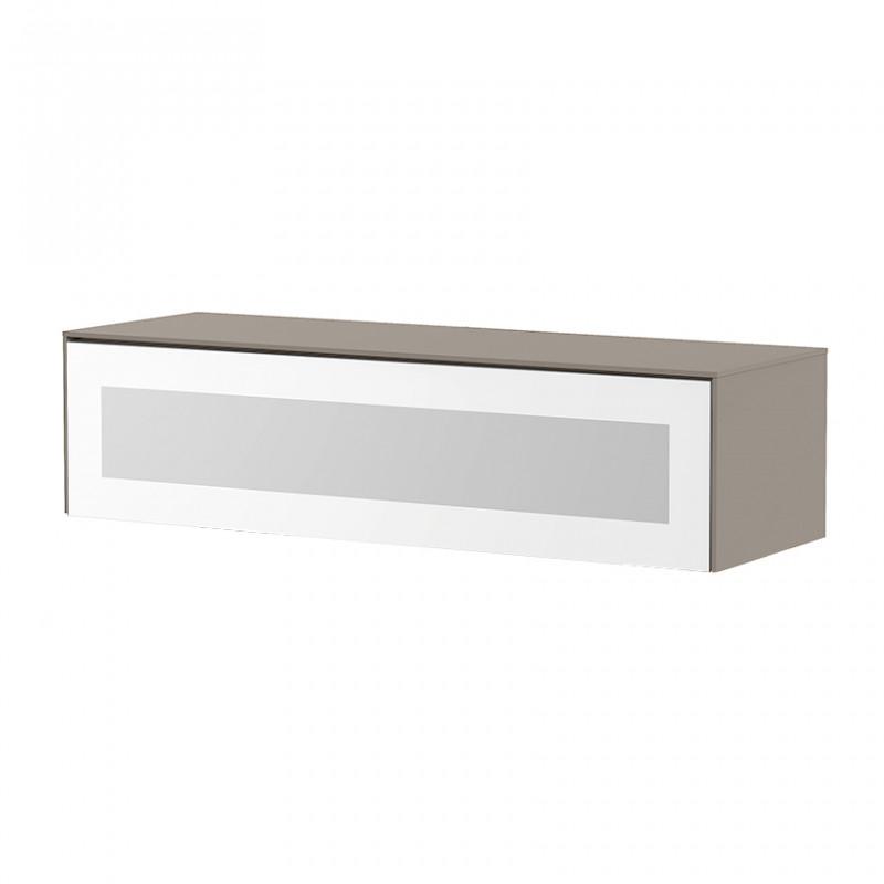 meuble tv suspendu taupe et blanc infrarouge sur cdc design