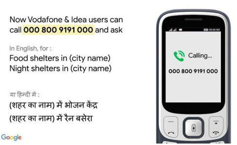 Google Assistant Number Toll Free Voice Facility for Food Shelters and Night Shelters in India