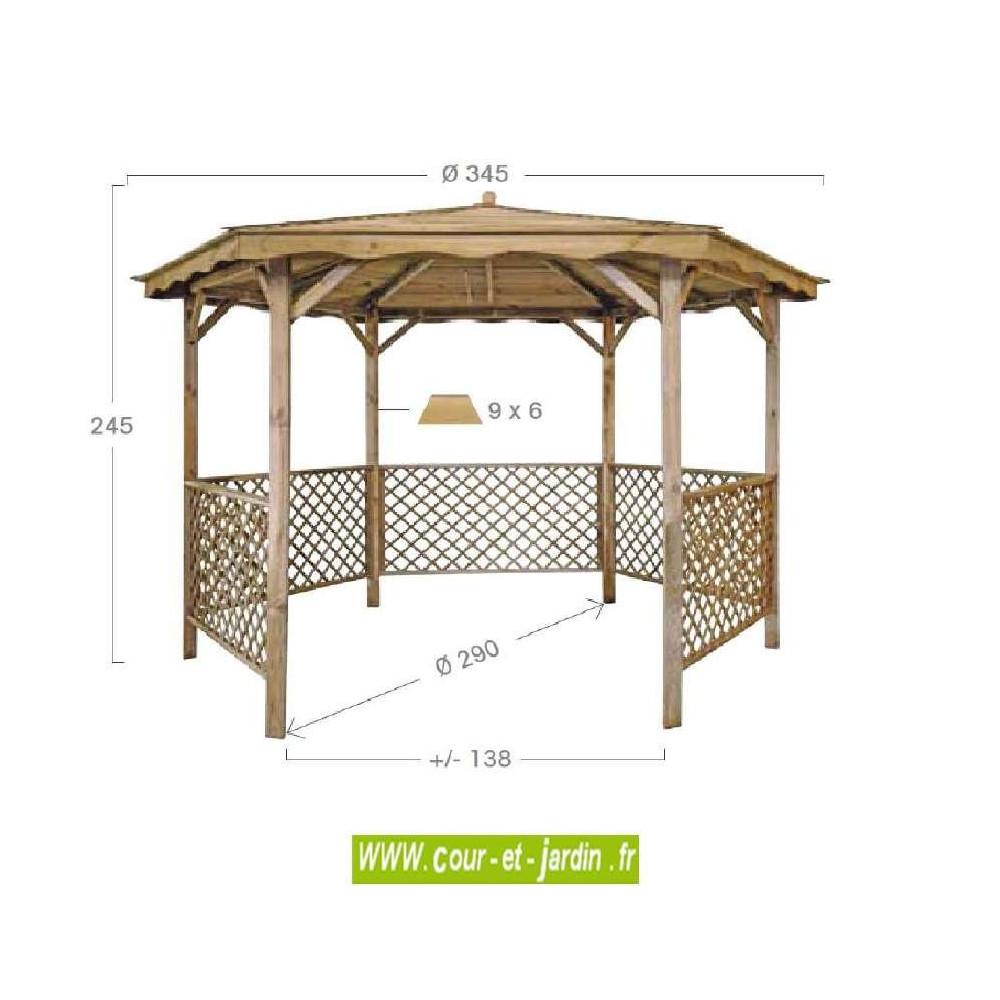 tonnelle hexagonale bois lora