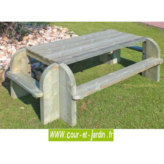 table pique nique bois elite rectangulaire table de jardin avec banc