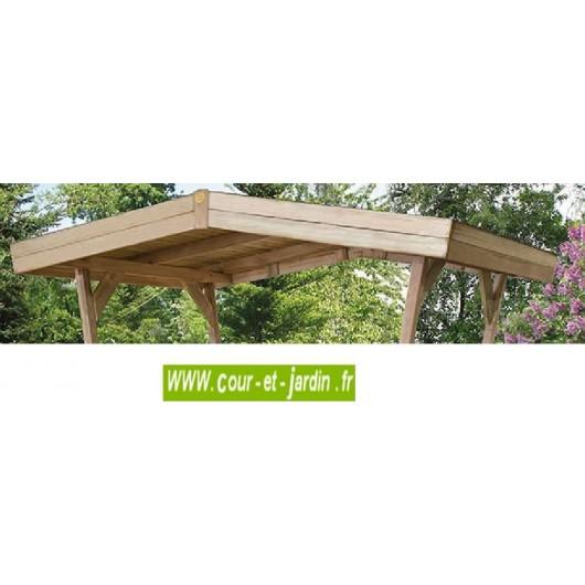 table en bois avec bancs et tonnelle bavaria de weka