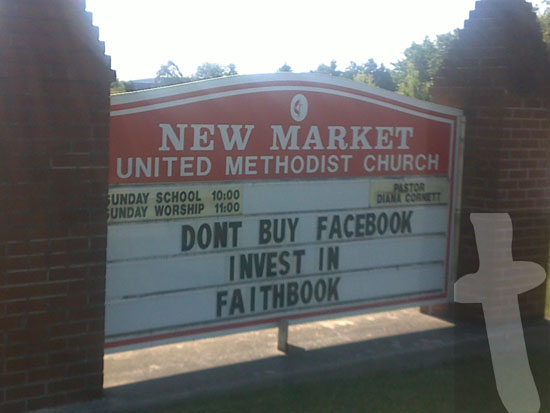 Church sign - Don't Buy Facebook Invest In Faithbook - New Market United Methodist Church