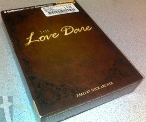 Picture of my copy of the Love Dare (on audiobook)