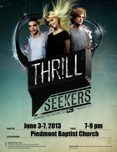 Thrill Seekers - Colossal Coaster World - Piedmont Baptist Church - flyer