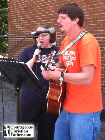 Stacy & Justin Breeden, singing at Mt. Carmel Baptist Church's, Block Party, August 24, 2013