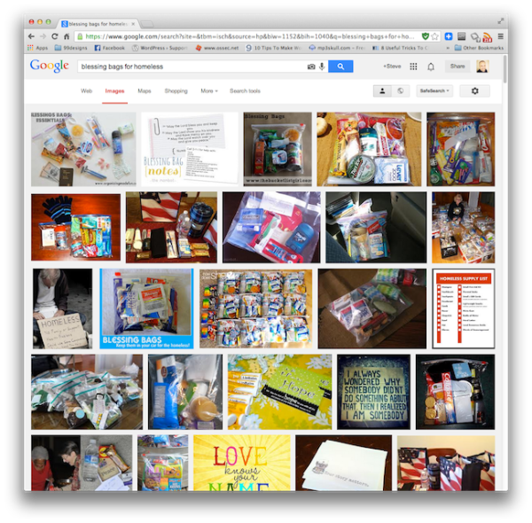 "Screen Shot of Google Image Search on ""blessing bags for homeless"""