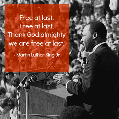 Free At Last by Dr. Martin Luther King Jr. (klove) -- Free at last, Free at last, Thank God almight we are free at last.