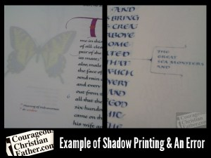 Example of Shadow Printing & An Error