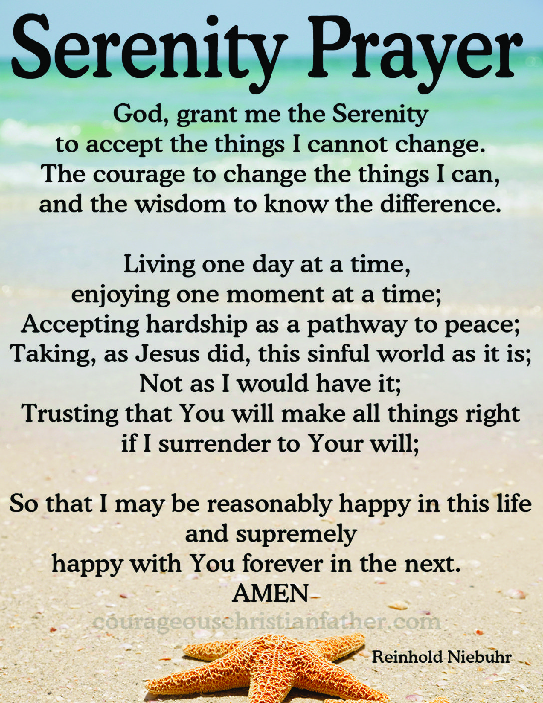 image regarding Serenity Prayer Printable named Serenity Prayer Brave Christian Dad