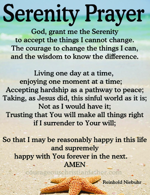 photo regarding Free Printable Serenity Prayer named Serenity Prayer Brave Christian Dad