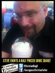 Steve's Enjoys a half priced sonic shake! (Sonic: Half Price Shakes)