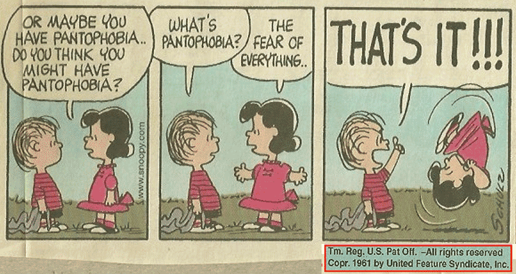 Pantophobia or Panophobia or Omniphobia - Fear of everything
