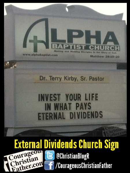 External Dividends Church Sign