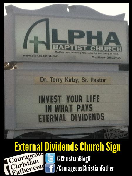 External Dividends Church Sign