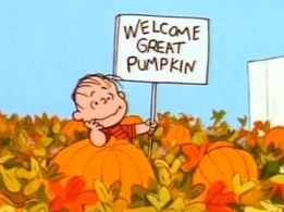 Linus waiting for the Great Pumpkin