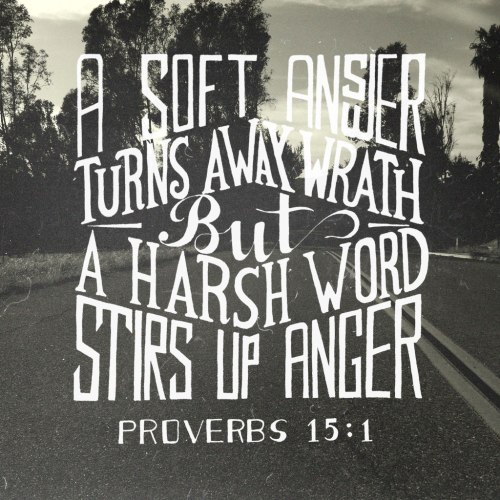 "Proverbs 15:1 - ""A soft answer turns away wrath, But a harsh word stirs up anger."""