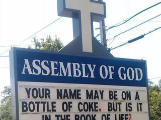 Name on Coke Church Sign