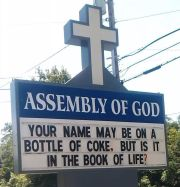 Your Name on a Coke Bottle Church Sign