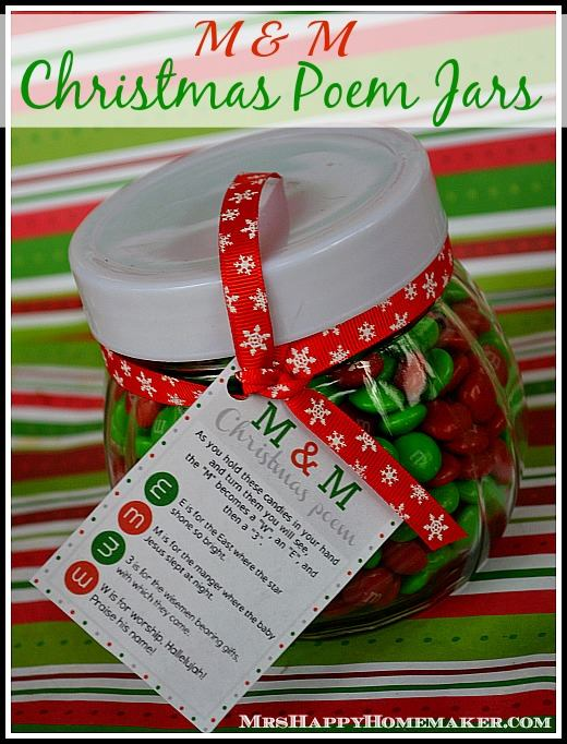 M&M Christmas Poem Jars