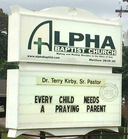 Praying Parent Church Sign