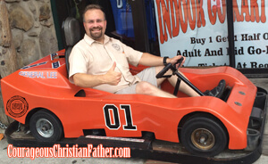Steve in a General Lee Go-Kart at Cooter's
