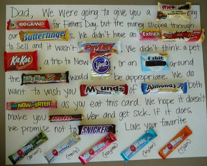 Father's Day Candy Bar Greeting Card - I saw this graphic on Facebook recently again. It has a greeting message on the card. Some of it written by hand and the other part uses a candy bar or the words. See the image below.