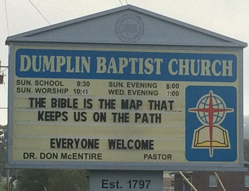 The Bible is the Map that keeps us on the path - Dumplin Valley Baptist Church Sign