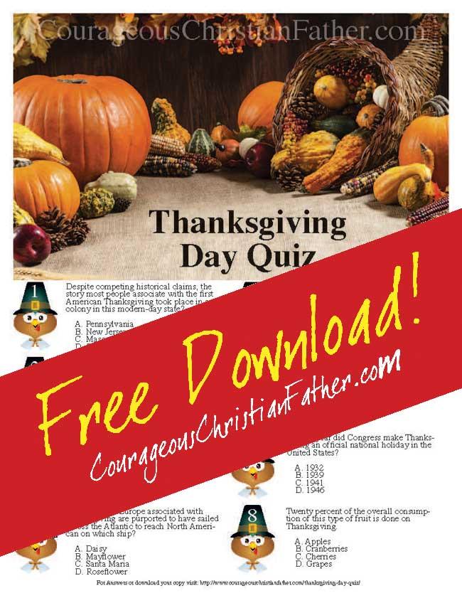 image regarding Thanksgiving Quiz Printable titled Thanksgiving Working day Quiz Printable Brave Christian Dad