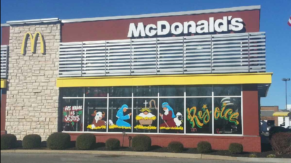 McDonald's in Spring Hill, TN and their Nativity Scene painted window