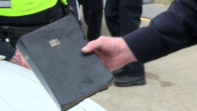 Bible Survives Fiery Car Crash