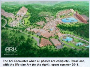 The Ark Encounter when all phases are complete. Phase one, with the life-size Ark (to the right), opens summer 2016.