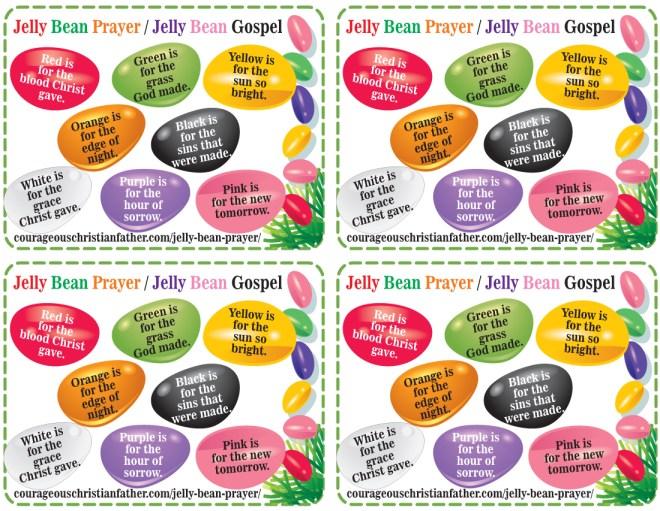 Jelly Bean Prayer Printable - Jelly Bean Gospel Printable 4 to a page