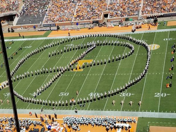 UT Pride of the Southland Band play tribute to Pat Summitt - September 17, 2016 home game. The band forms her circle P logo.