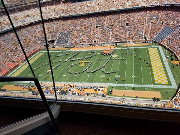 UT Pride of the Southland Band play tribute to Pat Summitt - September 17, 2016 home game. The band spells out Pat.