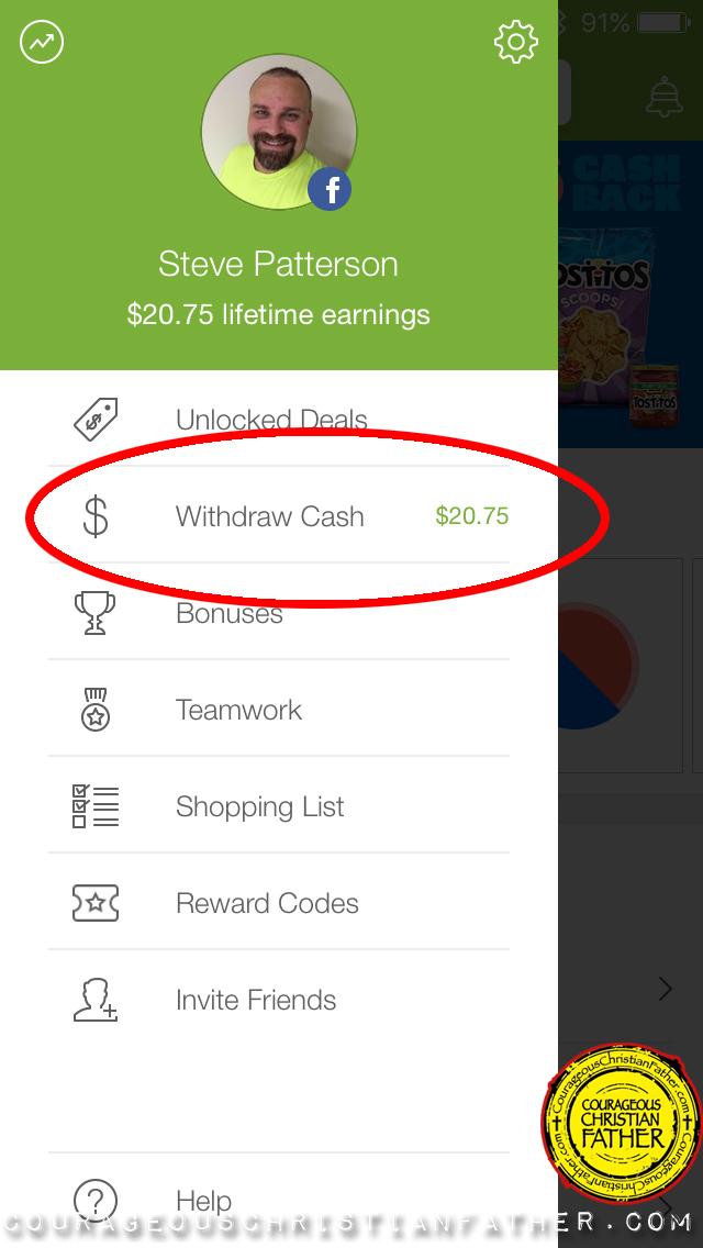 screenshot of Ibotta App where I earned reward (Withdraw Cash)
