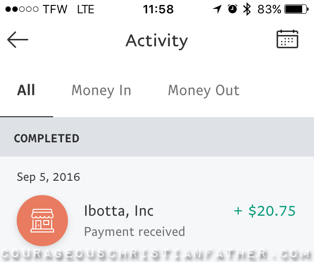 Screenshot of PayPal Transfer from Ibotta #Ibotta #PayPal