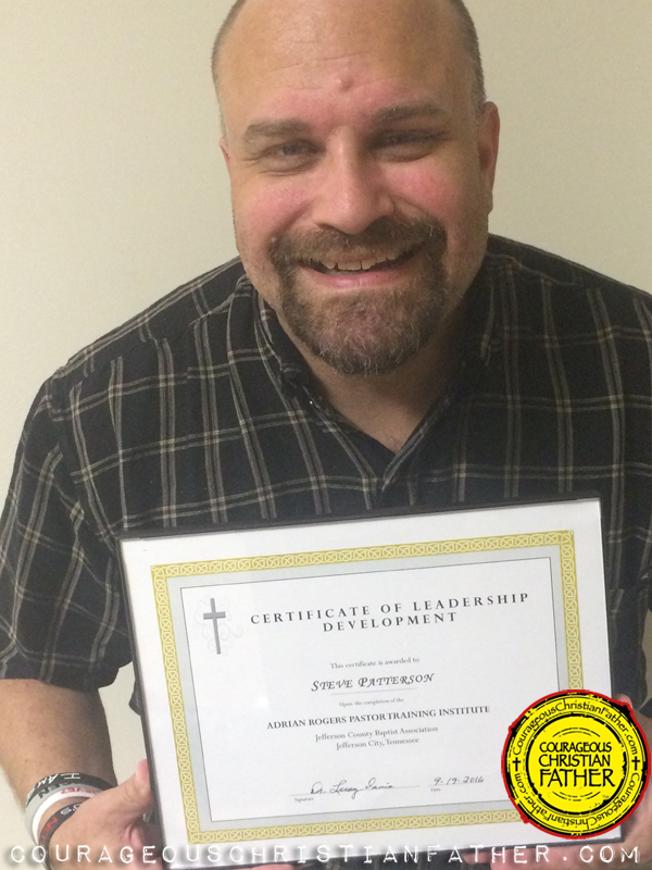 Steve Patterson with certificate of completion of the Adrian Rogers Pastor Training Institute What Every Pastor Ought to Know