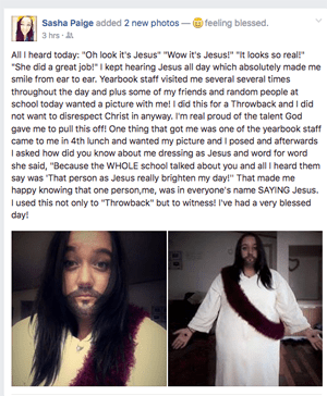 Sasha Paige Facebook Status Screenshot | Student Dresses up like Jesus for Throwback Day at High School