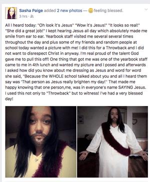 Sasha Paige Facebook Status Screenshot | Student Dresses up like Jesus for Throwback Day at High School