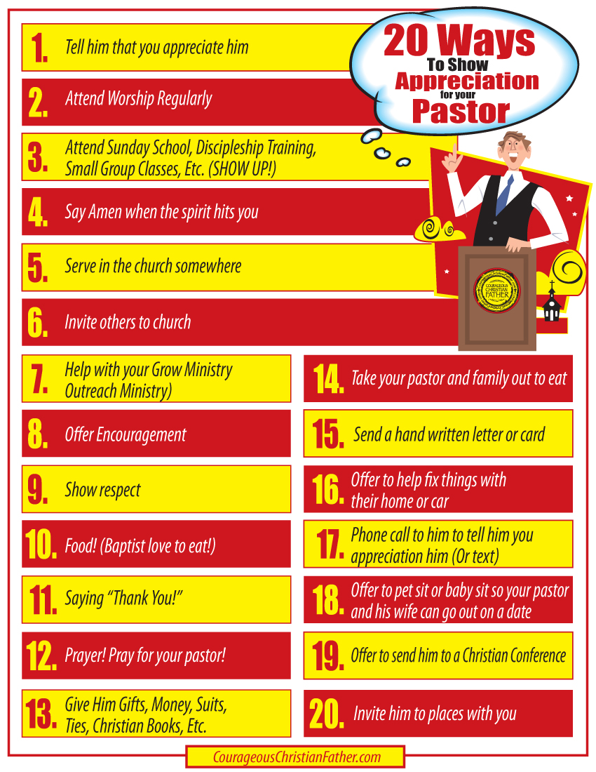 20 Ways To Show Appreciation For Your Pastor Printable