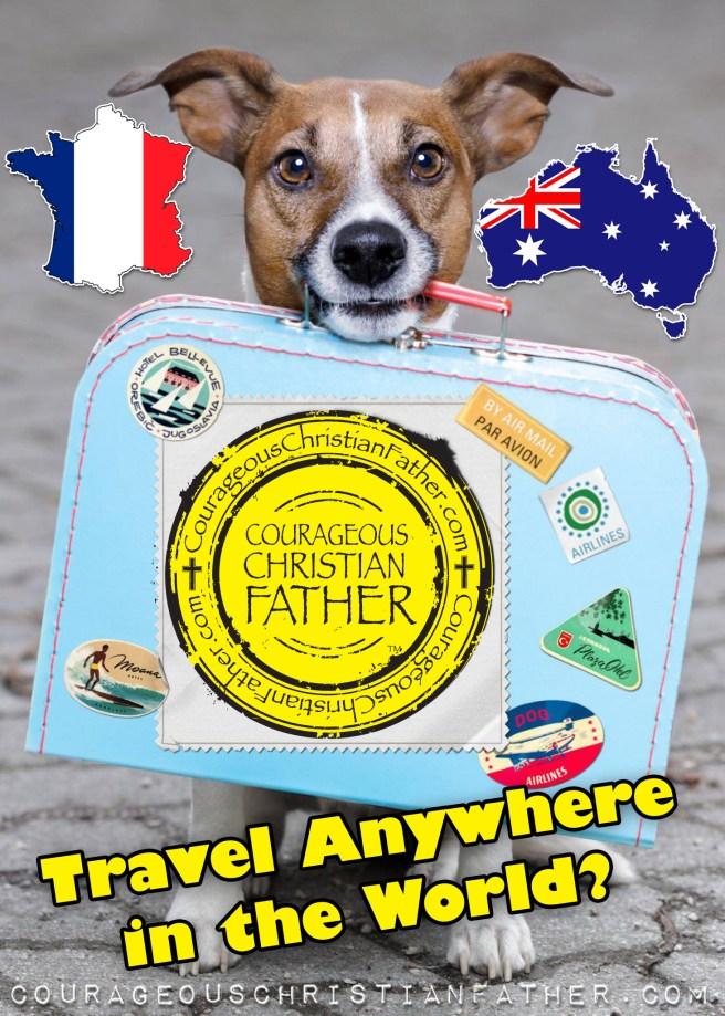 Travel anywhere in the world - Dog - Suitcase, France, Australia