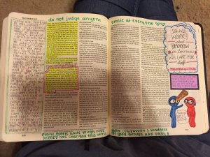 Georgia Teen Gives Boyfriend a Filled in Journaling Bible for Christmas - Speck in your eye & Don't WOrry about tomorrow
